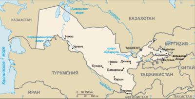 Карта Ресрублики Узбекистан